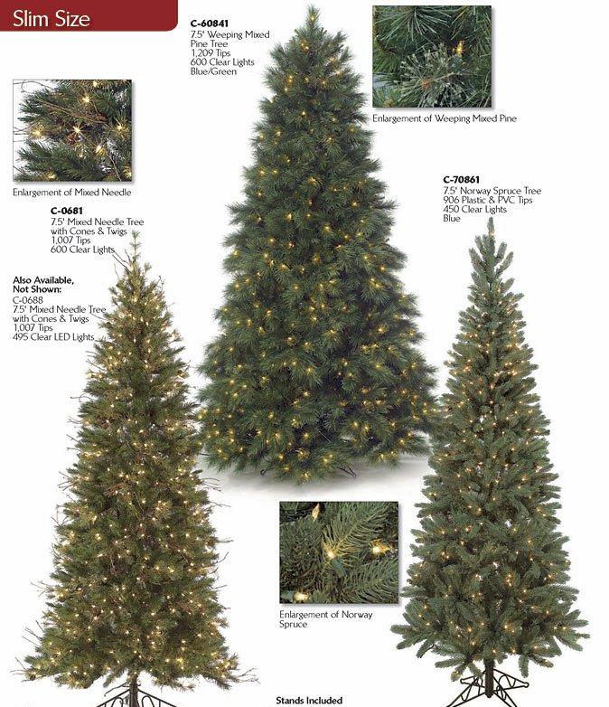 Pre Lit Slim Artificial Christmas Trees