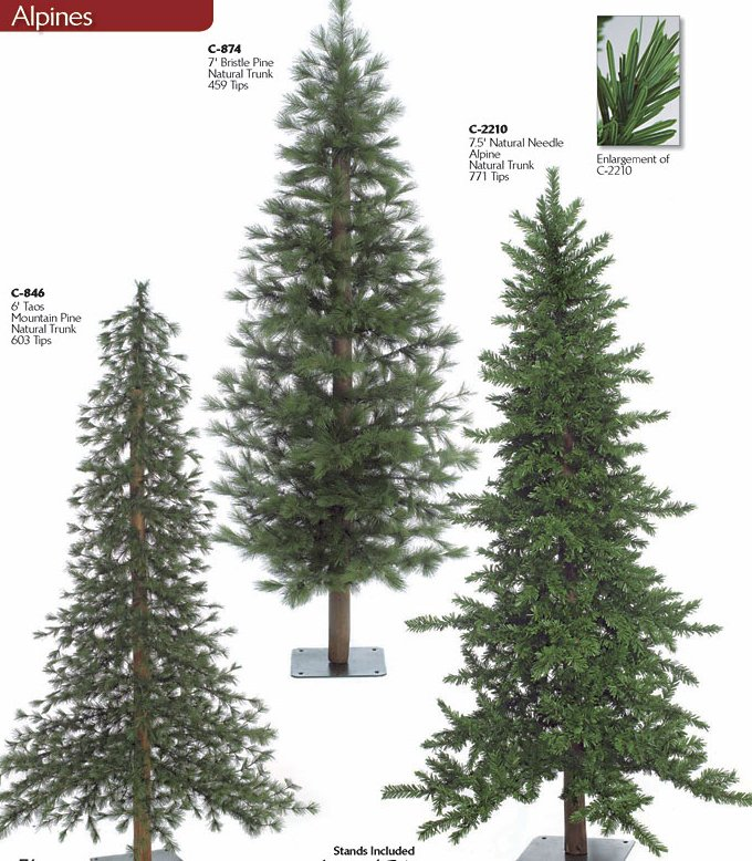 Charming Christmas Tree Without Lights Part - 12: Alpine Trees With. Natural Trunks, Alpine (regular And Irregular Shape)  Forest Pine With. Natural Trunk
