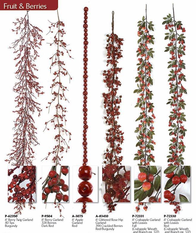 6/' Velvet Hydrangea Red Apple Garland