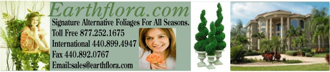 Faux Fine Foliages, Topiaries, Bushes, Vines & More - Earthflora Logo