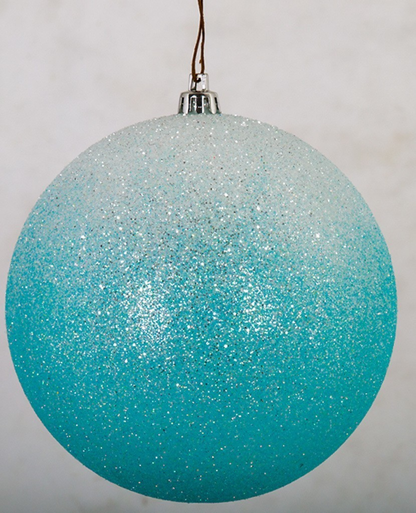 Earthflora Christmas Tree Ornaments And Trimmings Earthflora S 5 Inch Glittered Ombre Ball Ornament In Light Blue White Or Silver White