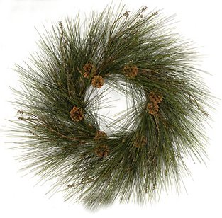 Earthflora Wreaths With Or Without Lights C 90440 32 Long Leaf Pine Wreath 9 Pine Cones