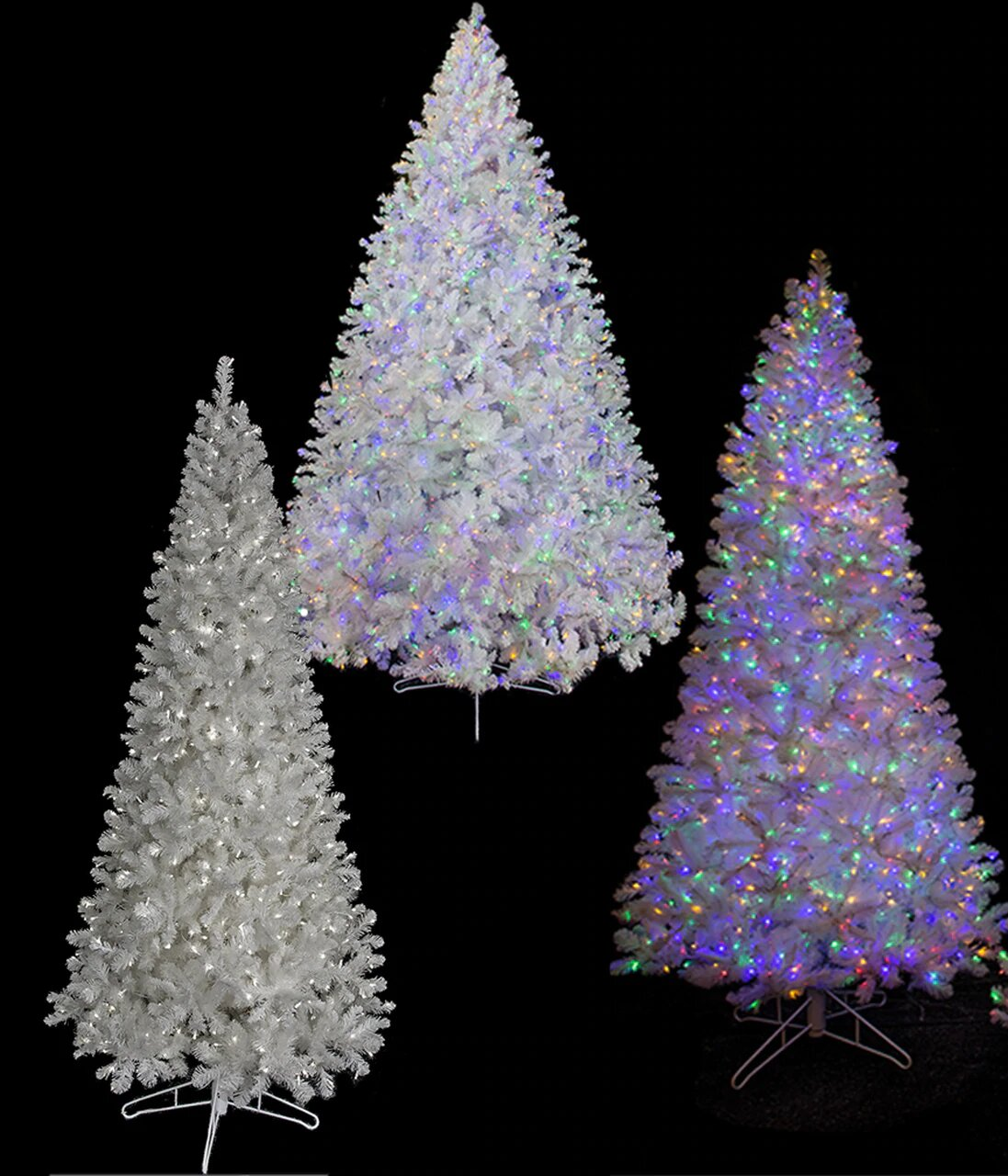 Earthflora Silver And White Trees Earthflora S C 195408options Snowy White Spruce Artificial Christmas Trees Winter White Or Multi Colored Led Lights