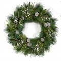 30 Inch Mixed Pvc Alban Pine Wreath | Frosted White Berries And Pine Cones