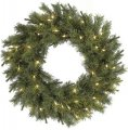 "C-1251 30"" Pistol Pine Wreath - Triple Ring - 180 Green Tips - 50 Clear lights"