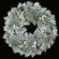 "36"" Flocked Longleaf Wreath with Pine Cones - Silver Ice Twigs"