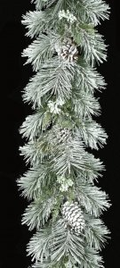 6' Flocked Longleaf Garland with Pine Cones - Silver Ice Twigs