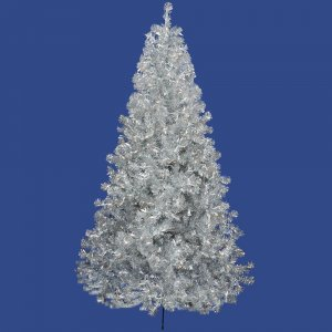 "9' x 58"" Silver Tree 2581 PVC Tips and 700 Warm White Dura-Lit Italian LED Mini Lights"