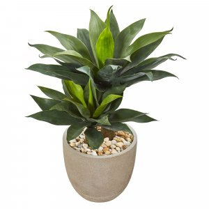 "34"" Double Agave Succulent Artificial Plant In Sand Stone Planter"