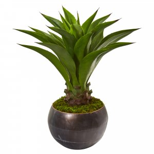 "41"" Agave Artificial Plant In Decorative Metal Bowl"
