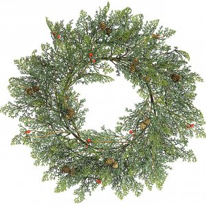 "24"" Plastic Western Red Cedar Wreath 160 Tips 20 Mini Pine Cones 30 Red Berries"
