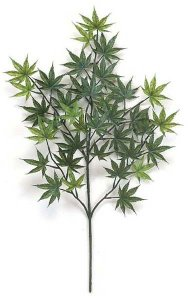 "26"" Outdoor  Artificial Japanese Maple Branch - 36 Leaves - Green"