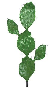 "38"" Plastic Prickly Pear Cactus with Brown Needles - Green - Bare Stem - 3.25"" Stem"