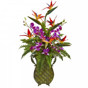 "32"" 23"" 20""  Bird of Paradise, Orchid and Fern Artificial Arrangement in Metal Planter"