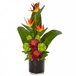 Bird of Paradise Tropical Arrangement in Black Vase