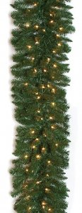 Monroe Pine Garland - 280 Green Tips - 100 Warm White LED Lights
