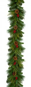 6 Foot X 12 Inch Mixed Pine Garland With Pine Cones And Red Berries