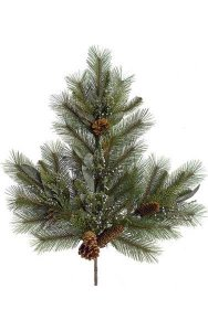"28"" PVC Long Needle Pine Spray - Bay Leaves/Juniper Berries/Incense Cedar - 6 Pine Cones - Green/Blue Tips"