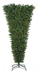 7.5' Upside - Down Christmas Tree - 1,086 Green Tips - 550 Clear Lights