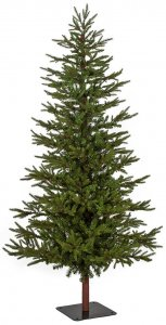 "7.5' Forest Pine Christmas Tree - Synthetic Trunk - 1,144 PE/PVC Tips - 50"" Width - Black Metal Base"