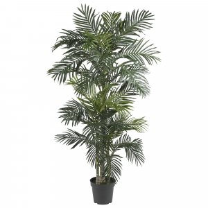 EF-1589 6.5' Outdoor Tropical Areca Golden Cane Tree in Plastic Pot GreenUV Coated Leaves U.V. Stabilized (resists fading under sunlight).Create your own tropical Oasis! (Price is for 2 Whole Palm Tree's)
