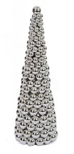 Earthflora's 3 Foot All Reflective/shiny Multi-ball Cone Tree In Red Or Silver Or Gold Or Mixed Colors