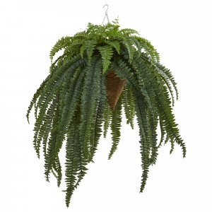 "50"" Giant Boston Fern Artificial Plant in Hanging Cone Indoor/Outdoor"