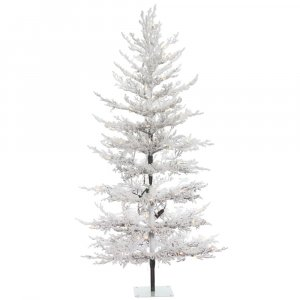 "5' x 32"" Flocked Winter Twig Pine Artificial Christmas Tree"