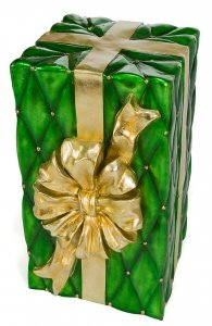 30 INCH GREEN AND GOLD CHRISTMAS GIFT BOX DECORATION