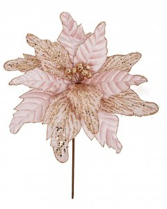 16 Inch Rose Gold Poinsettia Spray With Glitter Trim