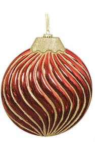 "10"" x 10"" Plastic Shiny Glittered Disc Ornament - Red/Gold"