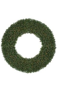 "72"" Deluxe Virginia Pine Wreath - Triple Ring - Warm White LED Lights"