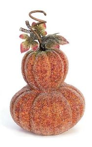 "11"" x 9"" Beaded Double Pumpkin with Leaves and Curls - Fall Orange"