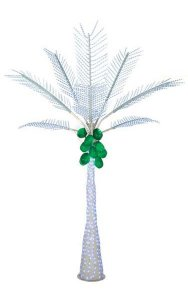 12.5' Coconut Palm Tree - White LED Lights