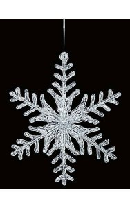 "12"" Acrylic Flat Snowflake Ornament - Double-Sided - Clear"