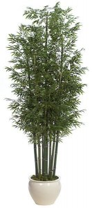 12' Bamboo Palm Cluster - 7 Natural Canes - Tutone Green- FIRE RETARDANT