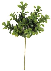 "12"" Boxwood Pick - Fabric Leaves - Green (sold by dozen)"