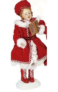 "12"" Standing Caroler Daughter - Red/White"