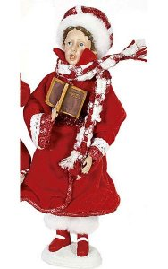 "12"" Standing Caroler Son - Red/White"