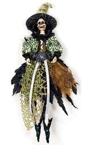 "12"" x 5"" Hanging Skeleton Witch Ornament - Black/Green"