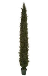 12' Plastic Outdoor Cypress Tree - 8,229 Leaves - Weighted Base