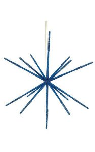 "14"" Plastic Glittered Star Ornament - Assembly Required - Dark Blue (Sold in a set of 12)"