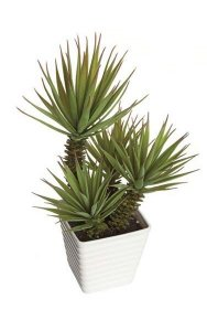 "14"" Potted Plastic Yucca Plant - 4 Green Stems - Square White Pot"