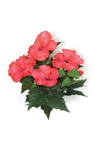 "15"" Hibiscus Bush - 4 Red/Pink Flowers - 2 Buds- FIRE RETARDANT"