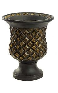 "16.5"" Fiberglass Urn - 9"" Inside Diameter - Black/Bronze/Gold"