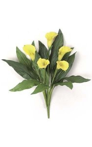 "18"" Calla Lily Bush - 13 Leaves - 5 Flowers"