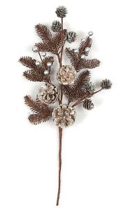 Plastic Glittered Pine Cone/Berry Spray - Brown Glitter Leaves