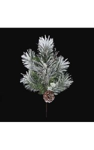 "21"" Flocked Longleaf Spray with Pine Cones - Silver Ice Twigs"