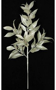 "22"" Plastic Glittered Laurel Spray - Glittered Berries - Jade Silver"