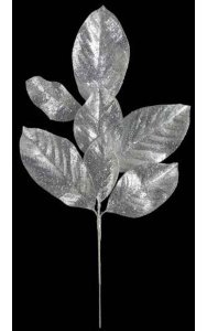 "23.5"" Glittered Magnolia Spray - Silver - 7 Leaves  - 8"" Stem"